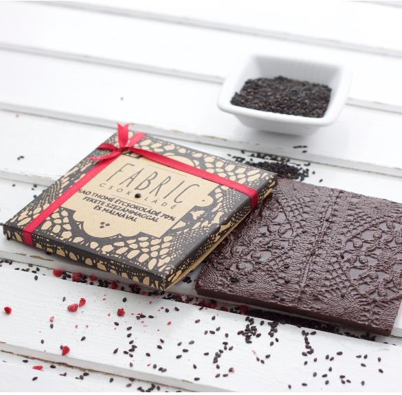 Sao Thomé étcsokoládé - fekete szezámmaggal és málnával